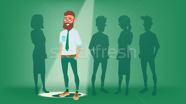Man Stand Out From The Crowd Vector. Choosing Worker. Smiling Business Man. Standing Office Workers. Stock photo © pikepicture