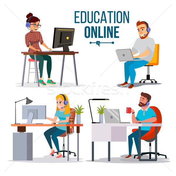 Education Online Concept Vector. People Using Online Education Service, Course. E-Learning Science C Stock photo © pikepicture