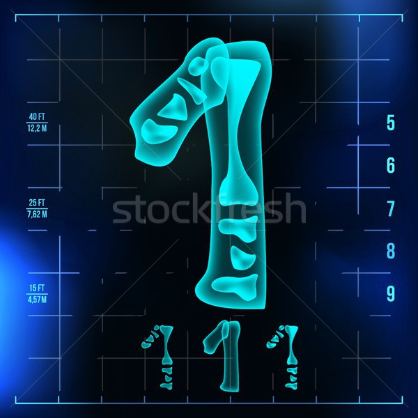 1 Number Vector. One Roentgen X-ray Font Light Sign. Medical Radiology Neon Scan Effect. Alphabet. 3 Stock photo © pikepicture