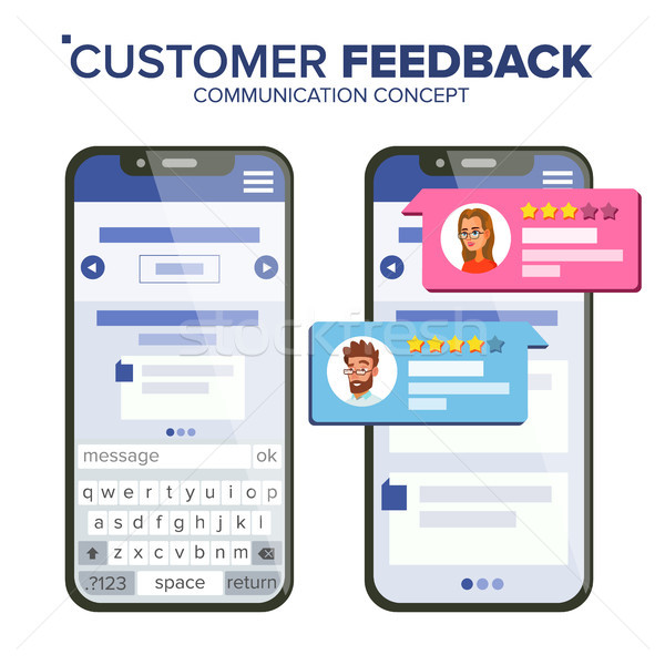 Customer Feedback Rating Vector. Smartphone Vector. Speech Bubbles. Social Media App Interface. Isol Stock photo © pikepicture