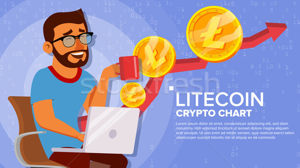 Litecoin Up Trend, Growth Concept Vector. Trade Chart. Virtual Money Happy Man Investor. Crypto Curr Stock photo © pikepicture