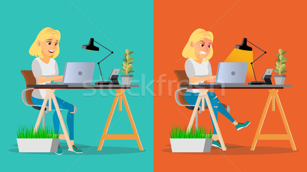 Stressed Out Woman Vector. Blonde Girl Working At Office. Stressful Work, Job. Tired Business Person Stock photo © pikepicture