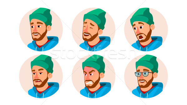 Bearded Man Avatar Vector. Character Business People Avatar. Cap, Hat. Face Emotions Set. Cartoon, C Stock photo © pikepicture