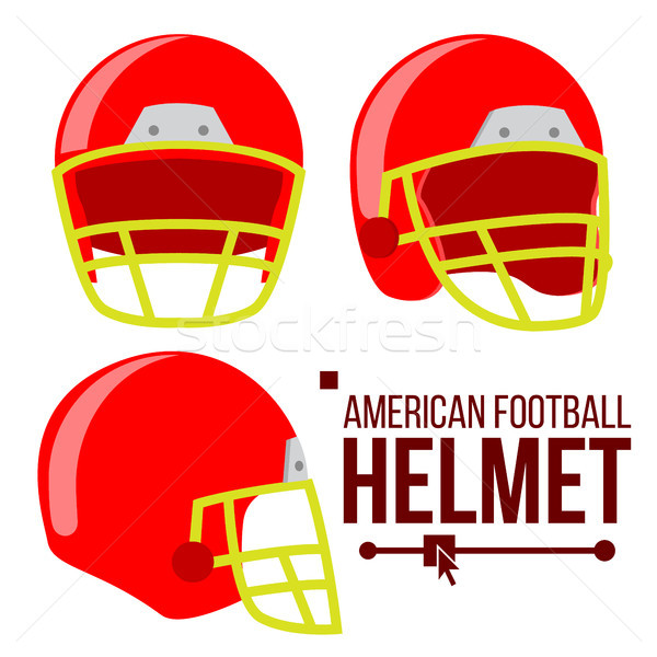 Helmet American Football Vector. Classic Red Rugby Head Protection Helm. Sport Equipment. Isolated F Stock photo © pikepicture