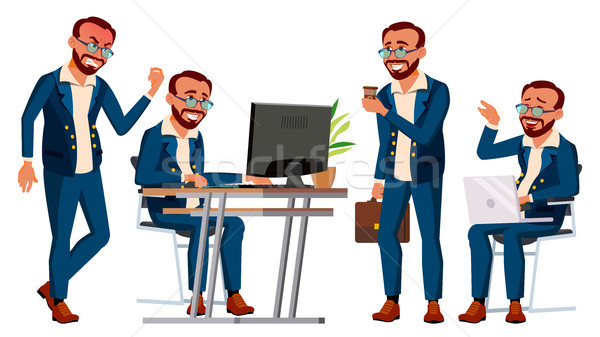 Office Worker Vector. Face Emotions, Gestures. Poses. Businessman Person. Turk. Front, Side View. Sm Stock photo © pikepicture
