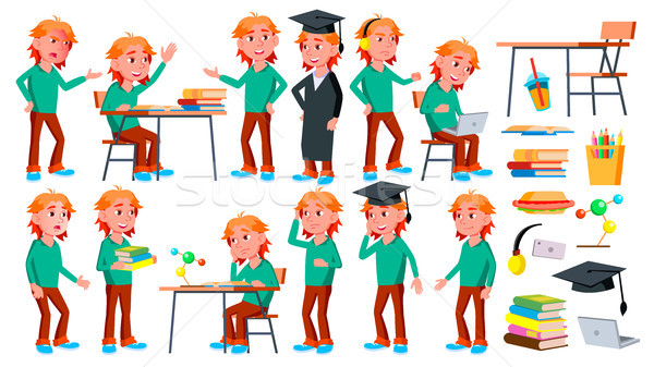 Boy Schoolboy Kid Poses Set Vector. High School Child. Children Study. Smile, Activity, Beautiful. F Stock photo © pikepicture