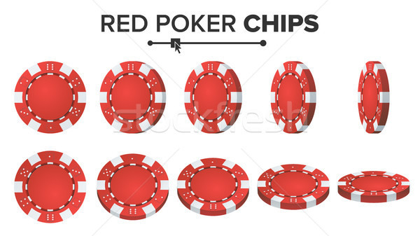 Red Poker Chips Vector. 3D Realistic Set. Plastic Poker Chips Sign Isolated On White Background. Fli Stock photo © pikepicture