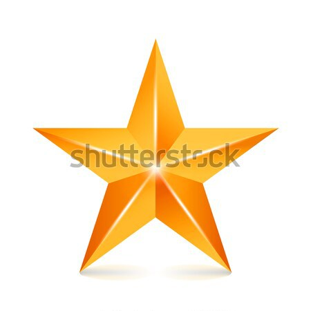 Achievement Vector Star. Yellow Sign. Golden Decoration Symbol. 3d Shine Icon Isolated On White Back Stock photo © pikepicture