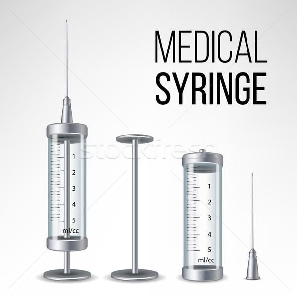 ストックフォト: ガラス · 医療 · シリンジ · 孤立した · ベクトル · 3D