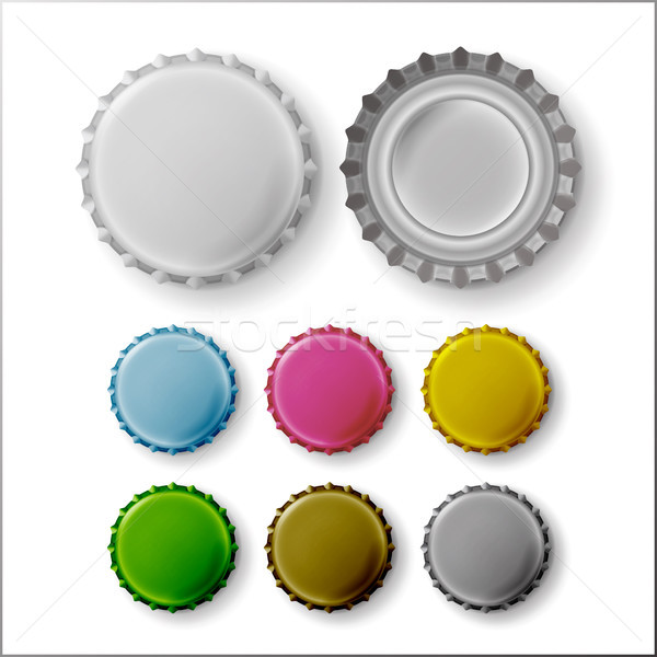 Beer Cap Vector. Colorful Bottle Caps Stock photo © pikepicture