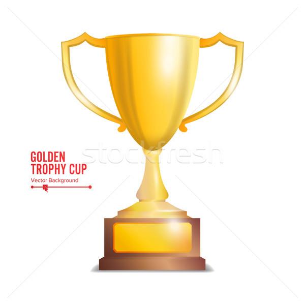 Stockfoto: Gouden · trofee · beker · geïsoleerd · witte · oranje