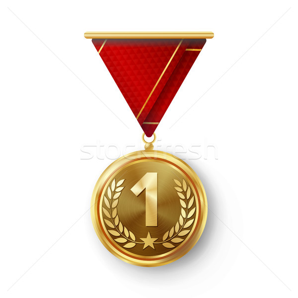 Gold Medal Vector. Metal Realistic First Placement Achievement. Round Medal With Red Ribbon, Relief  Stock photo © pikepicture