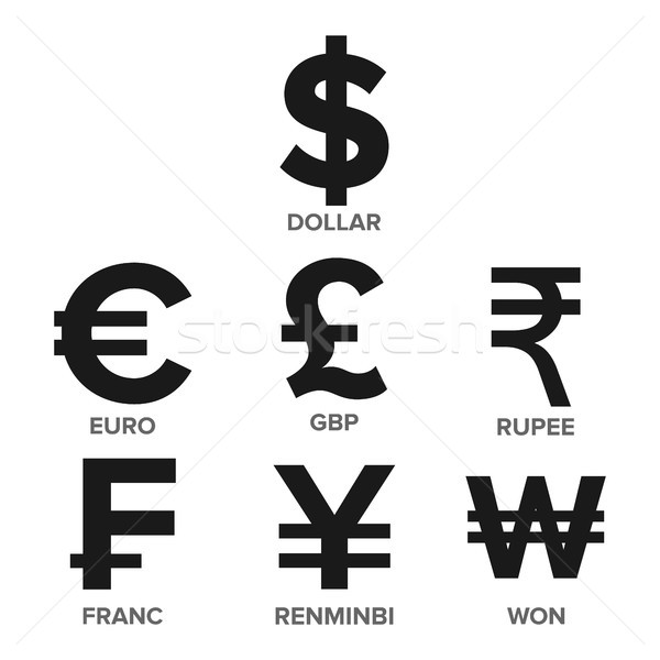 Currency Icon Set Vector. Money. Famous World Currency. Finance Illustration. Dollar, Euro, GBP, Rup Stock photo © pikepicture