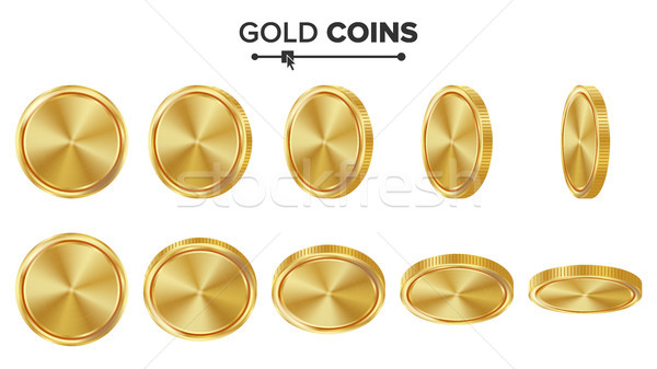 Empty Gold Coins Vector Set. Realistic Template Illustration. Flip Different Angles. Blank Money Fro Stock photo © pikepicture