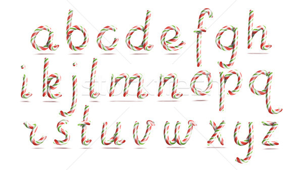 3D Realistic Candy Cane Alphabet Vector. Symbol In Christmas Colours. New Year Letter Textured With  Stock photo © pikepicture