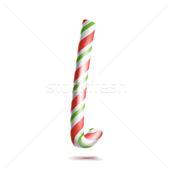 Letter L Vector. 3D Realistic Candy Cane Alphabet Symbol In Christmas Colours. New Year Letter Textu Stock photo © pikepicture
