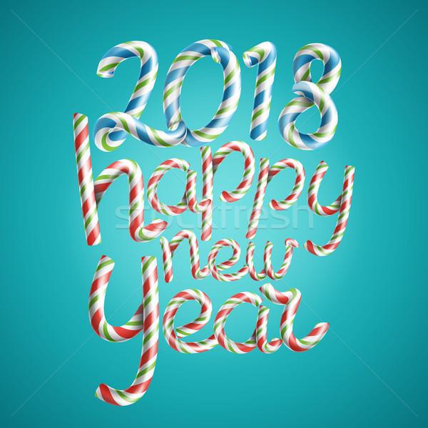 Happy new year vecteur 3D signe Noël couleurs Photo stock © pikepicture