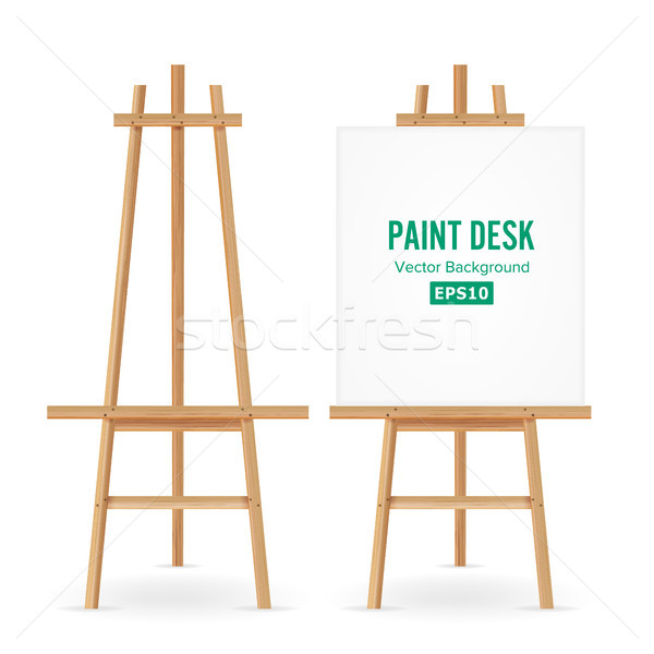Paint Desk Vector. Artist Easel Set With White Paper. Isolated On White Background. Realistic Painte Stock photo © pikepicture