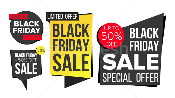 Black Friday Sale Banner Set Vector. Discount Tag, Special Friday Offer Banners. Discount And Promot Stock photo © pikepicture