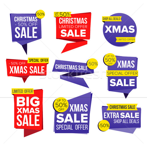Christmas Sale Banner Set Vector. Discount Tag, Special Xmas Offer Banners. December Good Deal Promo Stock photo © pikepicture