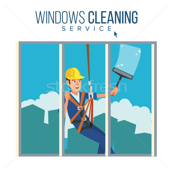 Window Washer Worker Vector. Man Cleaning Window Squeegee Spray. Window Washer Is Cleaning High Buil Stock photo © pikepicture