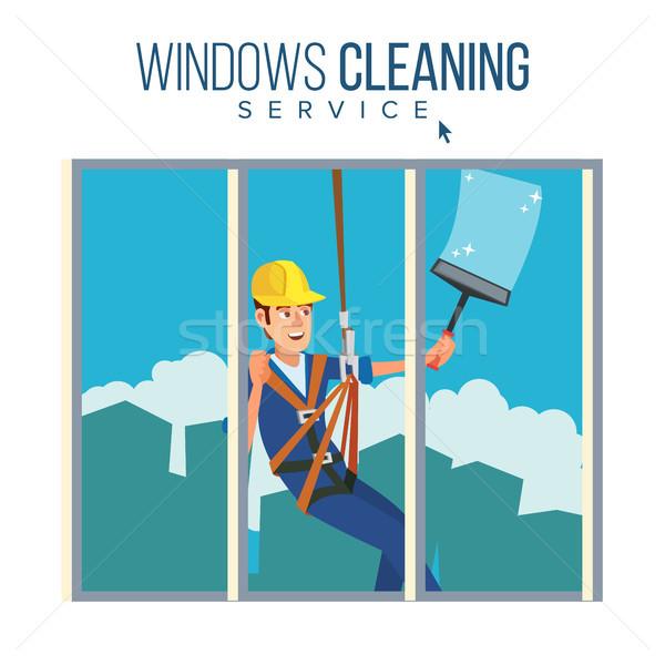 Pencere yıkayıcı işçi vektör adam temizlik Stok fotoğraf © pikepicture