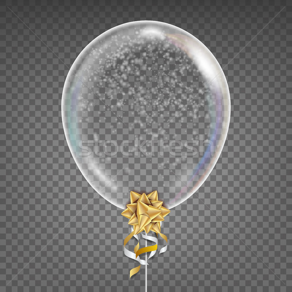 Transparent Balloon Vector. Snowflake. Gold Bow. Shiny Clean Ballon In The Air. Party Decoration For Stock photo © pikepicture