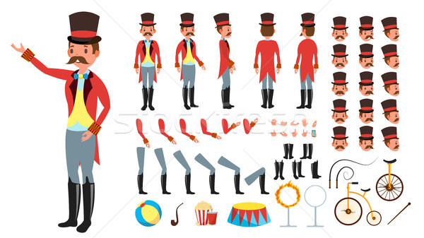 Circus Trainer Vector. Animated Character Creation Set. Full Length, Front, Side, Back View, Accesso Stock photo © pikepicture