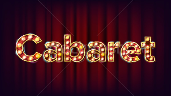 Cabaret Banner Vector. Vintage Cinema 3D Glowing Element. For Poster, Banner Design. Retro Vintage S Stock photo © pikepicture