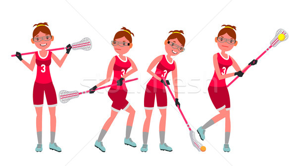 Female Lacrosse Player Vector. Profesional Sport. Holding Lacrosse Stick. Girl s Lacrosse Player. Is Stock photo © pikepicture