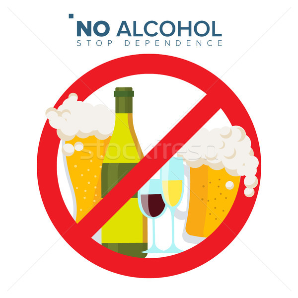 No Alcohol Sign Vector. Strike through Red Circle. Alcohol Abuse Concept. Prohibition Icon. Isolated Stock photo © pikepicture