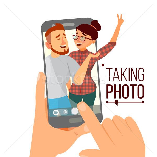Elvesz fotó okostelefon vektor mosolyog emberek Stock fotó © pikepicture
