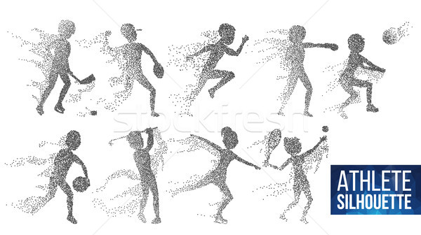 Athlete Silhouette Set Vector. Sport Dynamic Players In Action. Dotted Particles. Sport Banner, Game Stock photo © pikepicture