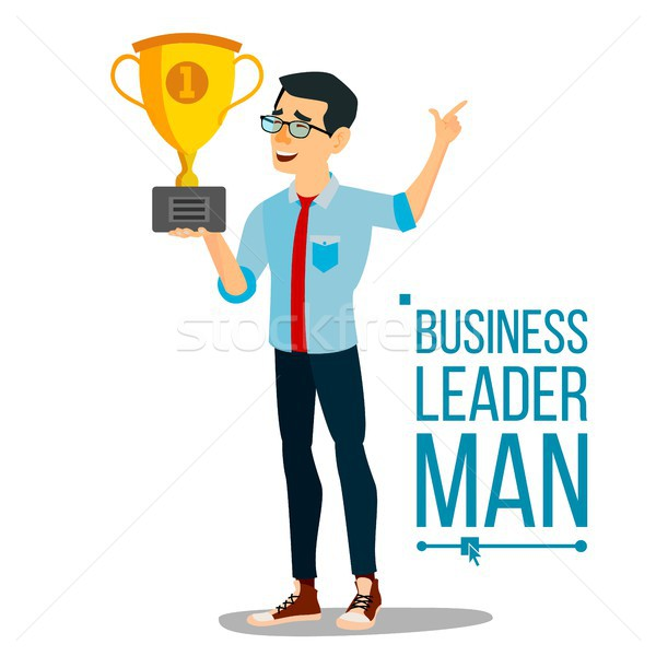 Attainment Achievement Concept Vector. Businessman Leader Holding Winner Cup. Entrepreneurship, Acco Stock photo © pikepicture