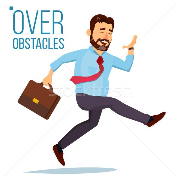 Businessman Jumping Over Obstacles Vector. Leader. Competing Race. Overcoming Obstacles, Achieving G Stock photo © pikepicture