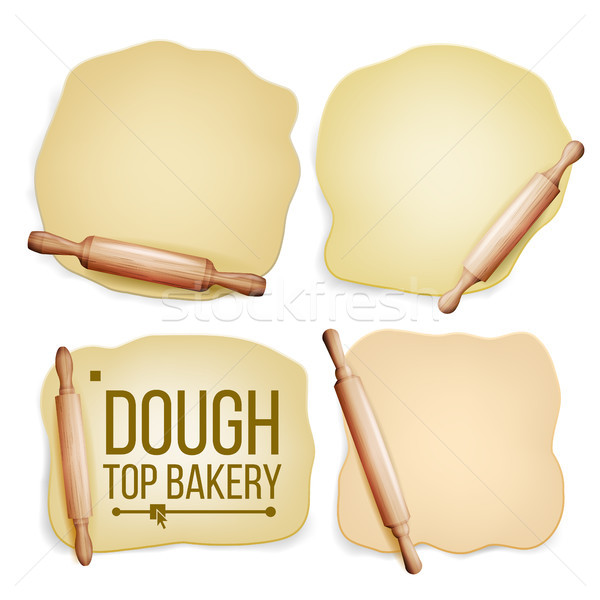 Dough Set Vector. Wooden Rolling Pin. Fresh Raw. Tasty. Top View. Preparing Tool. Design Element. Do Stock photo © pikepicture