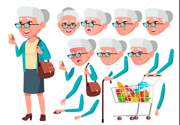 Old Woman Vector. Senior Person. Aged, Elderly People. Positive Person. Face Emotions, Various Gestu Stock photo © pikepicture
