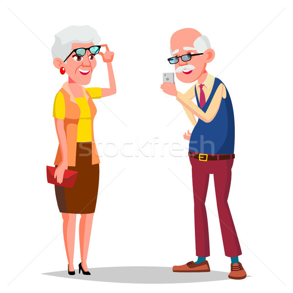 Elderly Couple Vector. Modern Grandparents. Feeling Happy. Aged. European. Isolated Flat Cartoon Ill Stock photo © pikepicture
