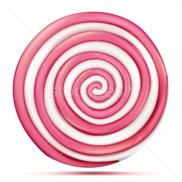 Round Pink Lollipop Isolated Vector. Classic Sweet Realistic Candy Abstract Spiral Illustration Stock photo © pikepicture
