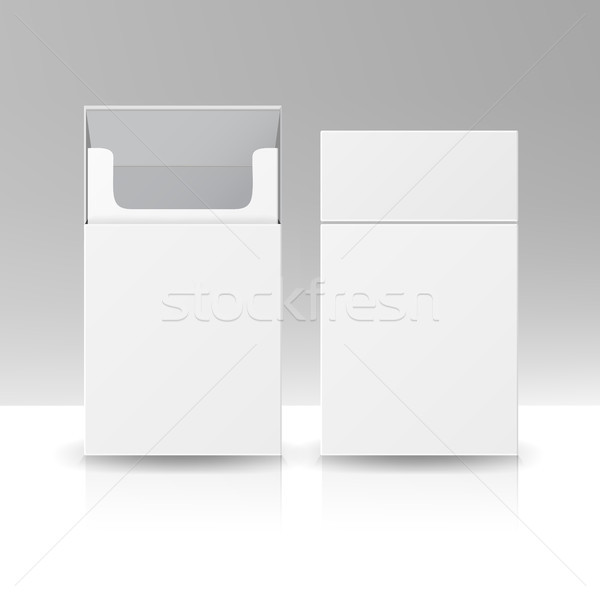 Blank Pack Package Box Of Cigarettes 3D Vector Template For Design. Opened Pack Of Cigarettes Isolat Stock photo © pikepicture
