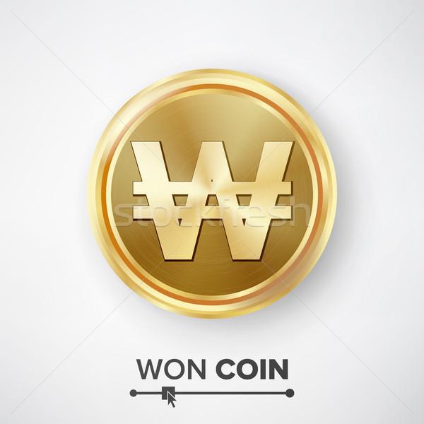 Gouden munt vector realistisch geld teken metaal Stockfoto © pikepicture