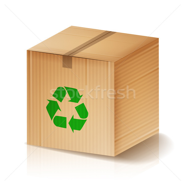 Recycle Box Vector. Brown Cardboard Box With Recycling Symbol. Isolated Illustration Stock photo © pikepicture