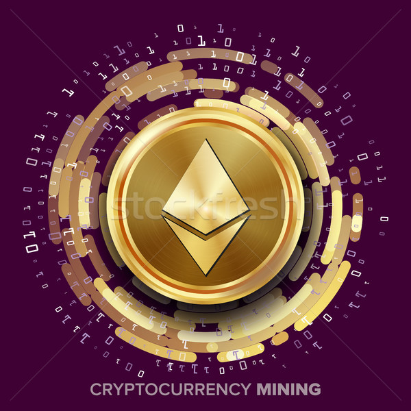 Mining Ethereum Cryptocurrency Vector. Golden Coin, Digital Stream. Futuristic Money. Fintech Blockc Stock photo © pikepicture