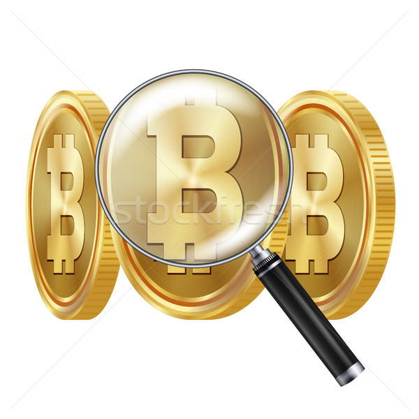 Bitcoin And Magnifying Glass Vector. Cryptocurrency Business Concept. Cryptography, Financial Techno Stock photo © pikepicture