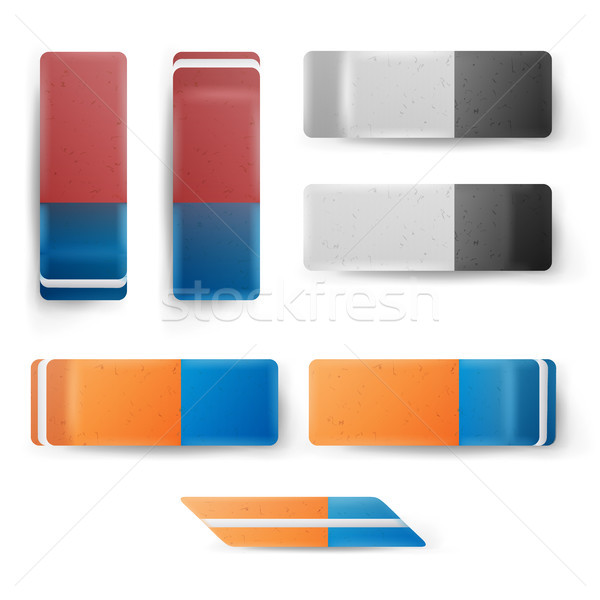 Realistic Eraser Set Vector. Classic Blue Orange, Grey White Rubber Icon. Isolated Illustration Stock photo © pikepicture