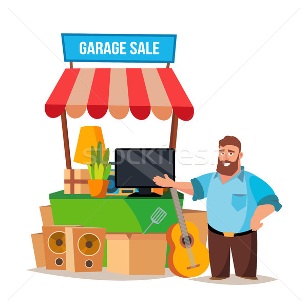 Yard Sale Vector. Man Having A Garage Sale. Isolated On White Cartoon Character Illustration Stock photo © pikepicture
