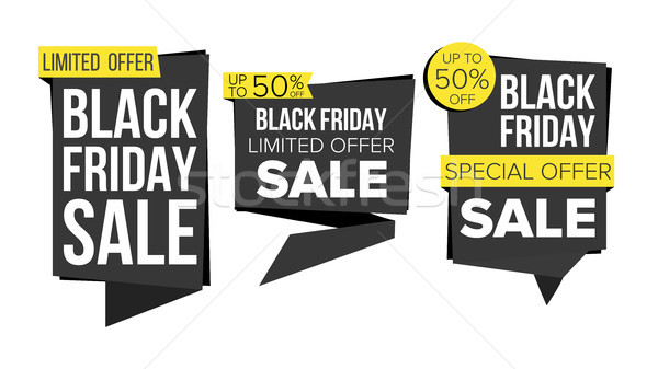 Black Friday Sale Banner Collection Vector. Website Stickers, Black Web Page Design. Friday Advertis Stock photo © pikepicture