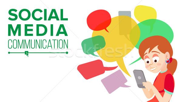 Genç kız mesajlaşma vektör iletişim kurmak Internet Stok fotoğraf © pikepicture