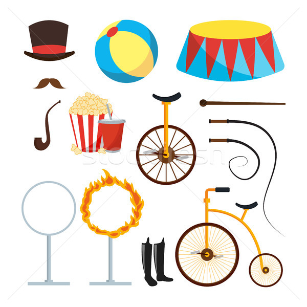 Circus Trainer Items Set Vector. Circus Accessories. Hat, Mustache, Ball, Podium, Stand, Whip, Tobac Stock photo © pikepicture