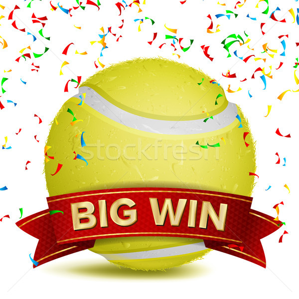 Tennis Award Vector. Red Ribbon. Big Sport Game Win Banner Background. Yellow Ball. Confetti Falling Stock photo © pikepicture